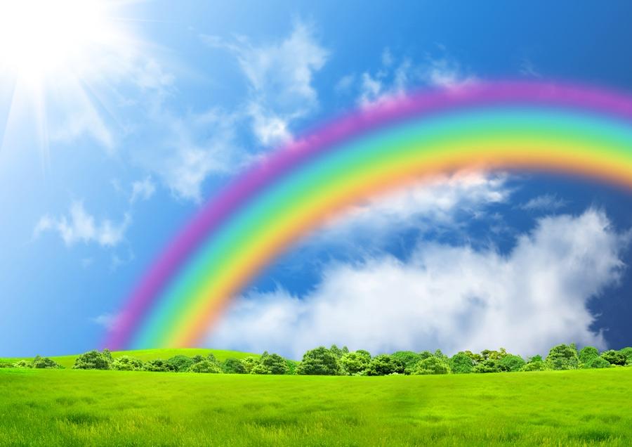 A na niebie kolorowa tęcza....
